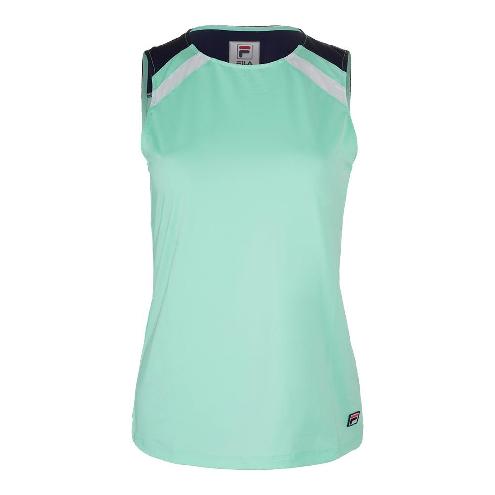 Women's Heritage Full Coverge Tennis Tank Mint And Navy