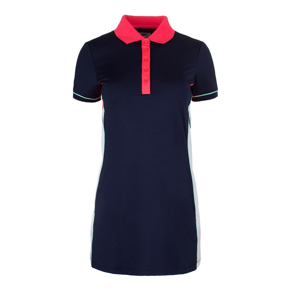 Women's Heritage Tennis Polo Dress Navy And Diva Pink