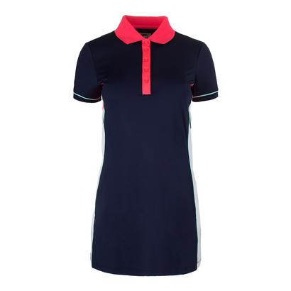 Women`s Heritage Tennis Polo Dress Navy and Diva Pink