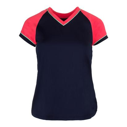 Women`s Heritage Cap Sleeve Tennis Top Navy and Diva Pink