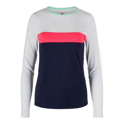 Women`s Heritage Long Sleeve Tennis Top Navy and White