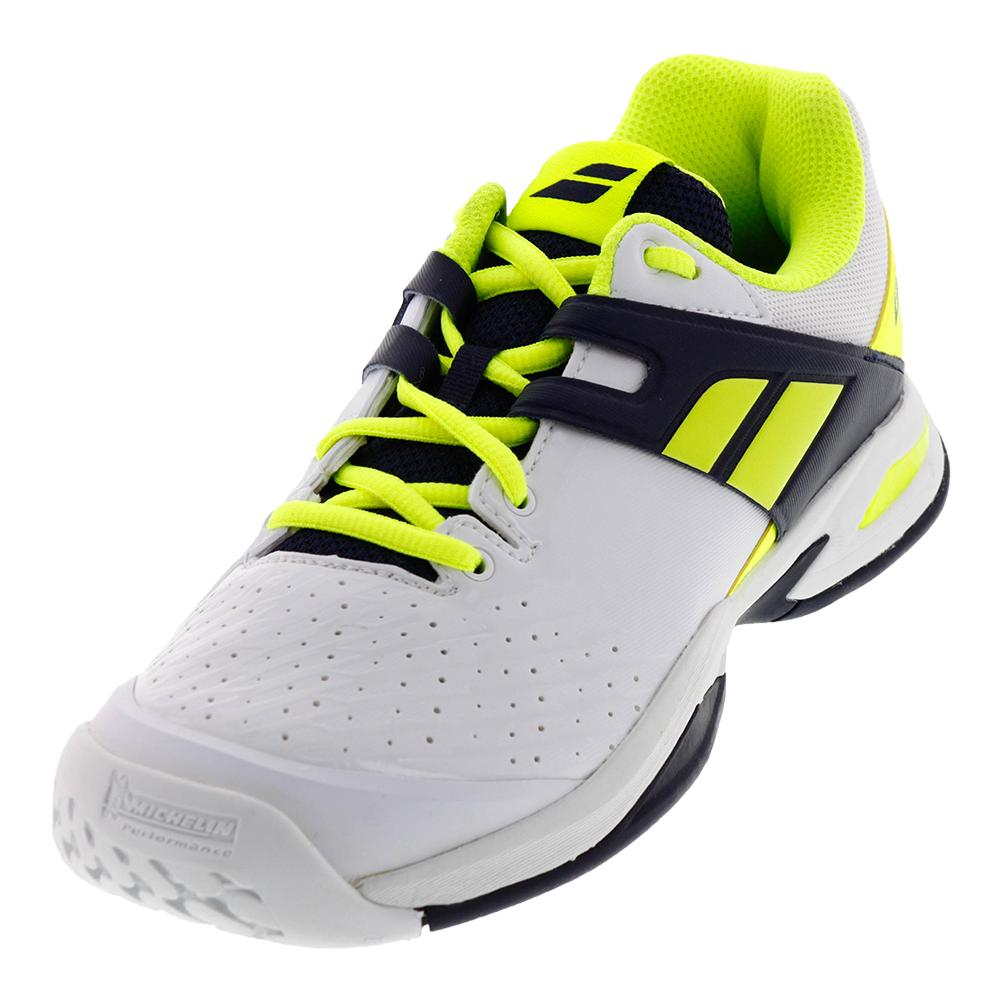 Juniors ` Prop All Court Tennis Shoes White And Yellow