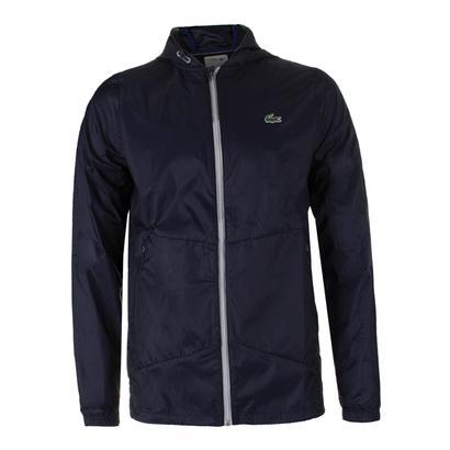 Men`s Novak Transparent Taffetas Tennis Hoddie Jacket navy blue