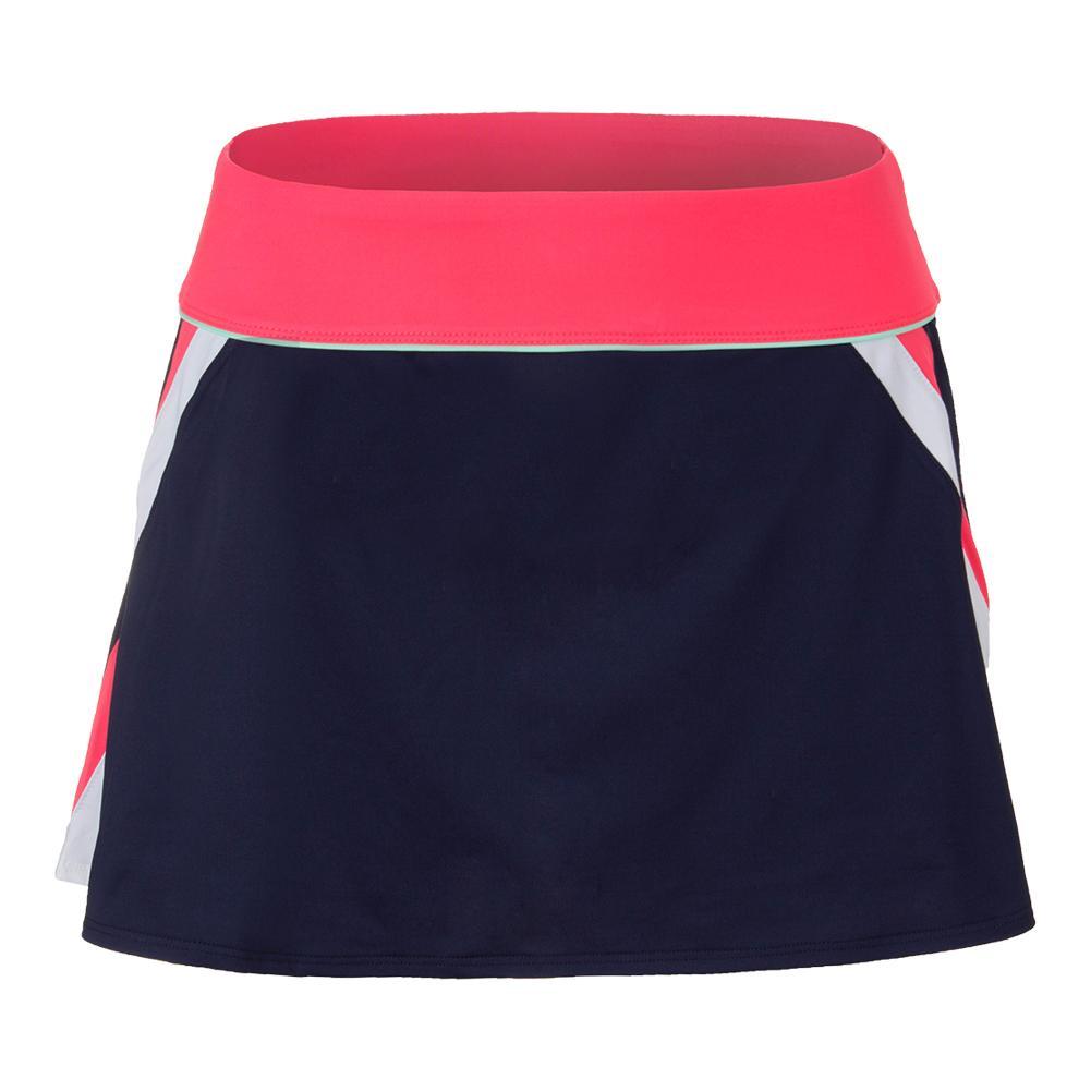 Women's Heritage A Line Tennis Skort Navy And Diva Pink