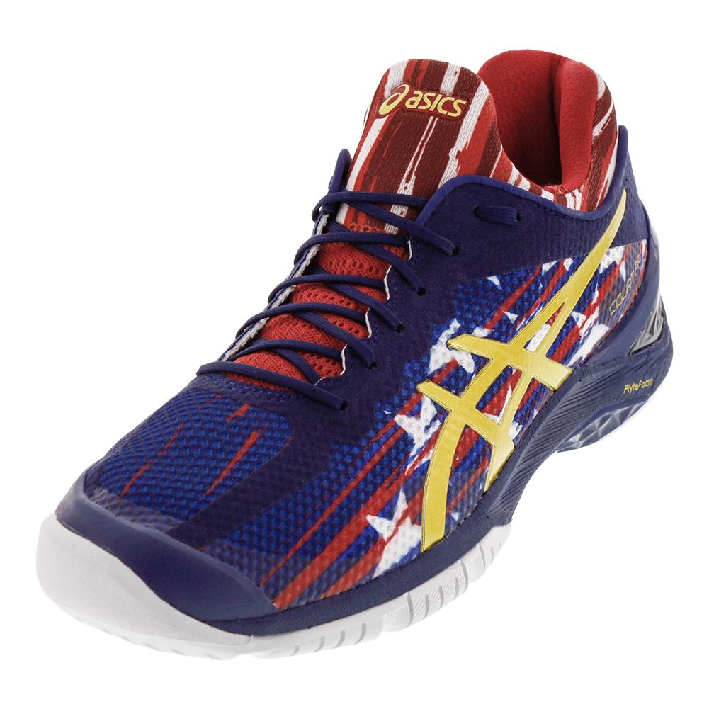 Unisex Gel- Court Ff Us Open Tennis Shoes Indigo Blue And Prime Red