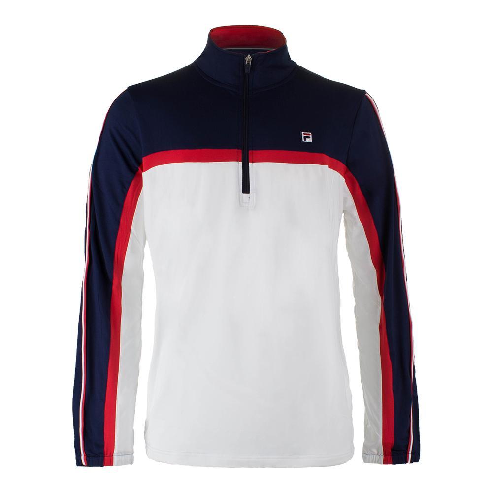 Men's Heritage 1/2 Zip Tennis Windbreaker White And Navy