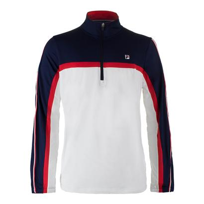 Men`s Heritage 1/2 Zip Tennis Windbreaker White and Navy