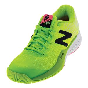 Men`s 996v3 D Width Tennis Shoes Energy Lime and Arctic Fox
