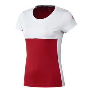 Women`s T16 CC Tennis Tee Power Red and White