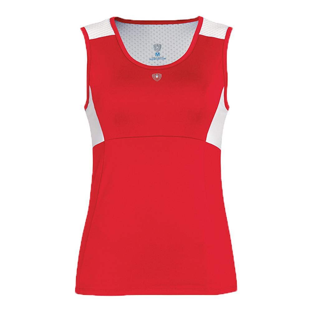 Women's Key- Hold Fashion Tennis Tank Red