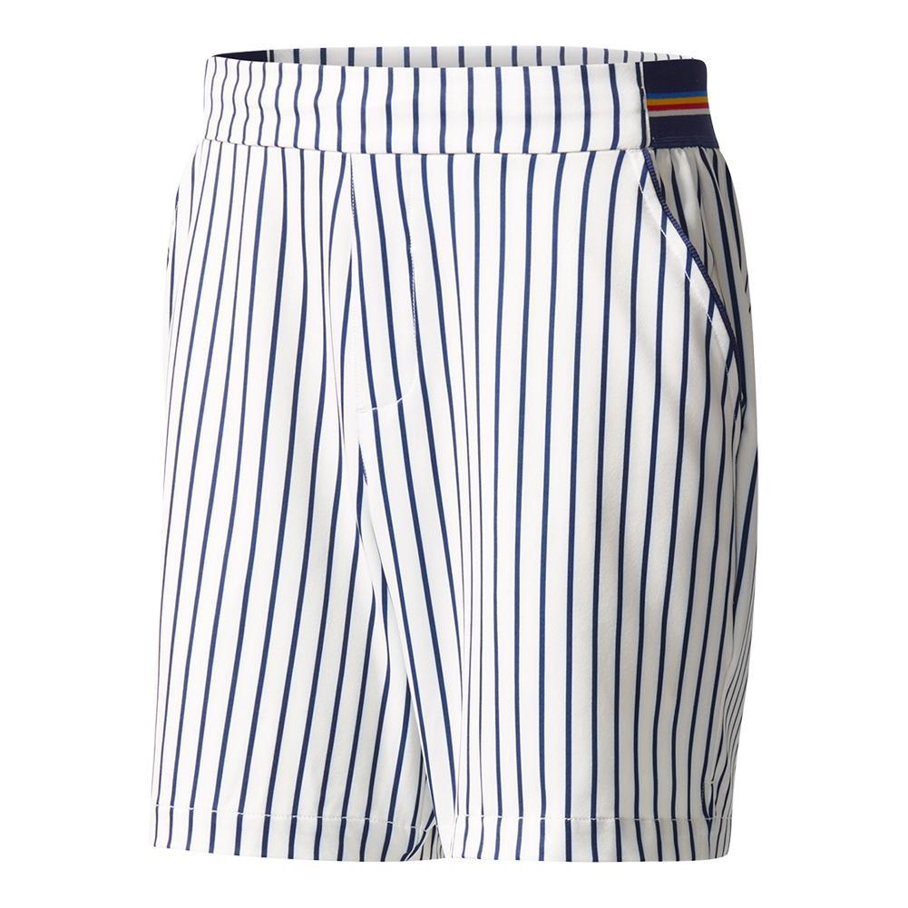 Men's Pharrell Williams New York Stripe Tennis Short Chalk White And Dark Blue
