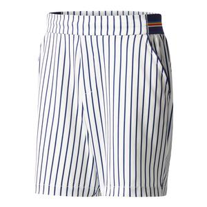 Men`s Pharrell Williams New York Stripe Tennis Short Chalk White and Dark Blue
