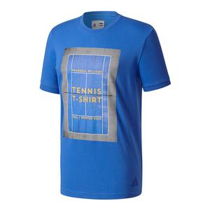 Men`s New York Pharrell Williams Graphic Tennis Tee Blue and Gray