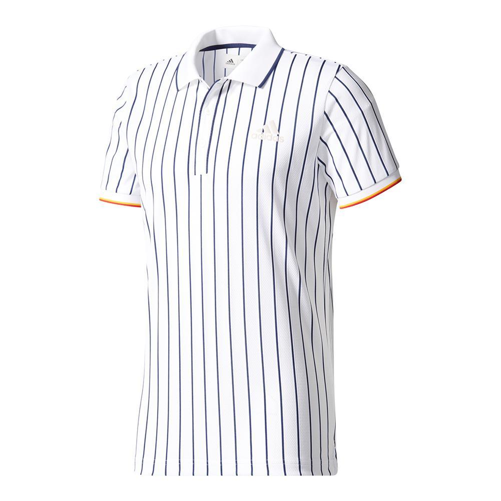 Men's Ny Striped Tennis Polo Chalk White