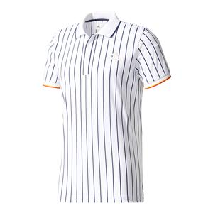Men`s NY Striped Tennis Polo Chalk White