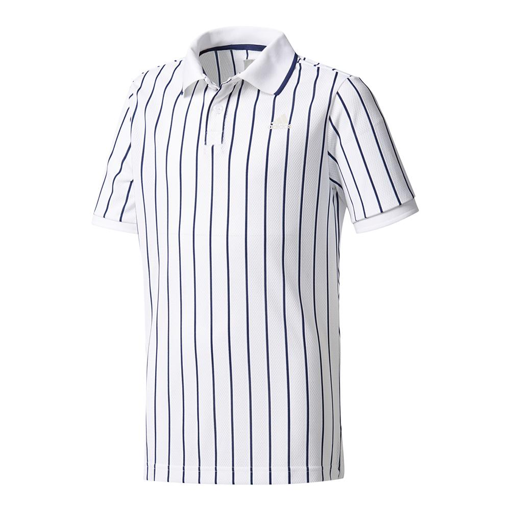 Boys ` New York Pharrell Williams Tennis Polo Chalk White And Dark Blue