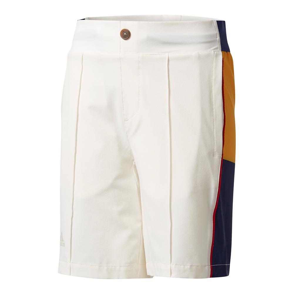 Boys ` New York Pharrell Williams Stripe Tennis Short Chalk White