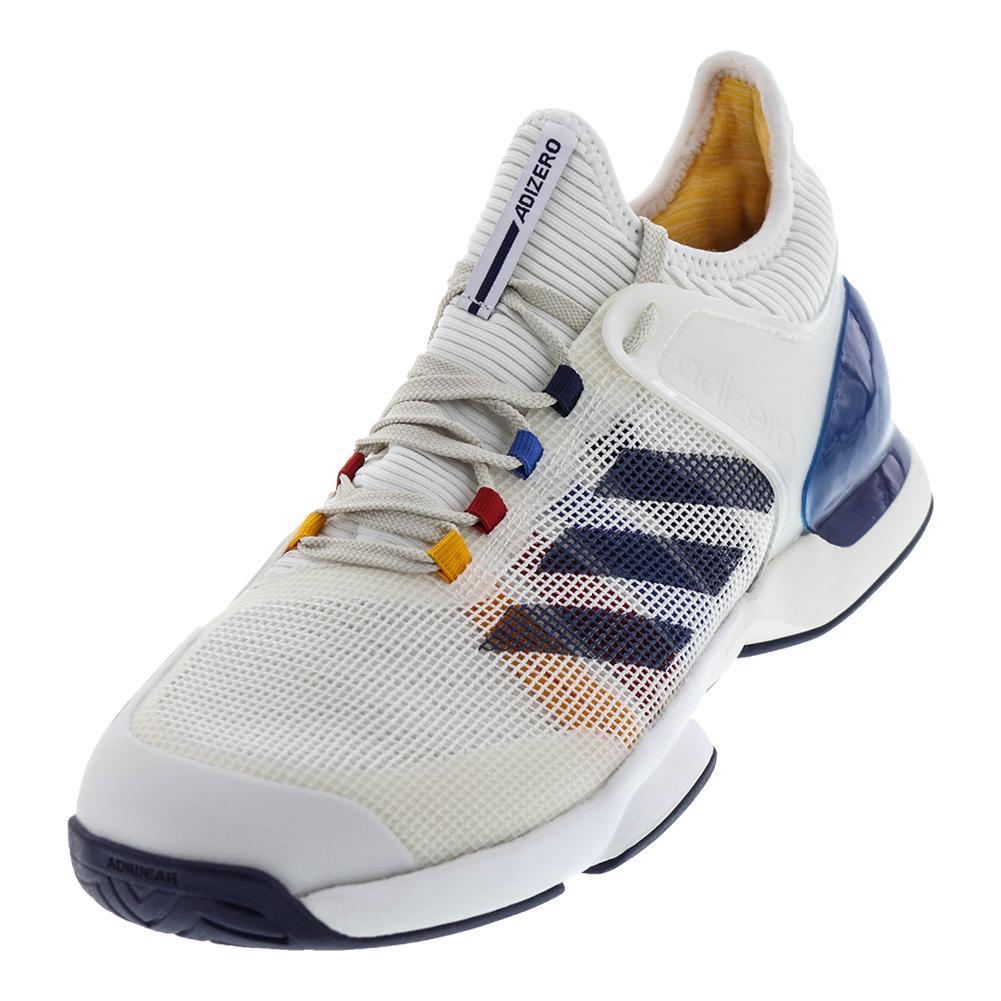Men's Adizero Ubersonic 2 Pharrell Williams Tennis Shoes White And Dark Blue