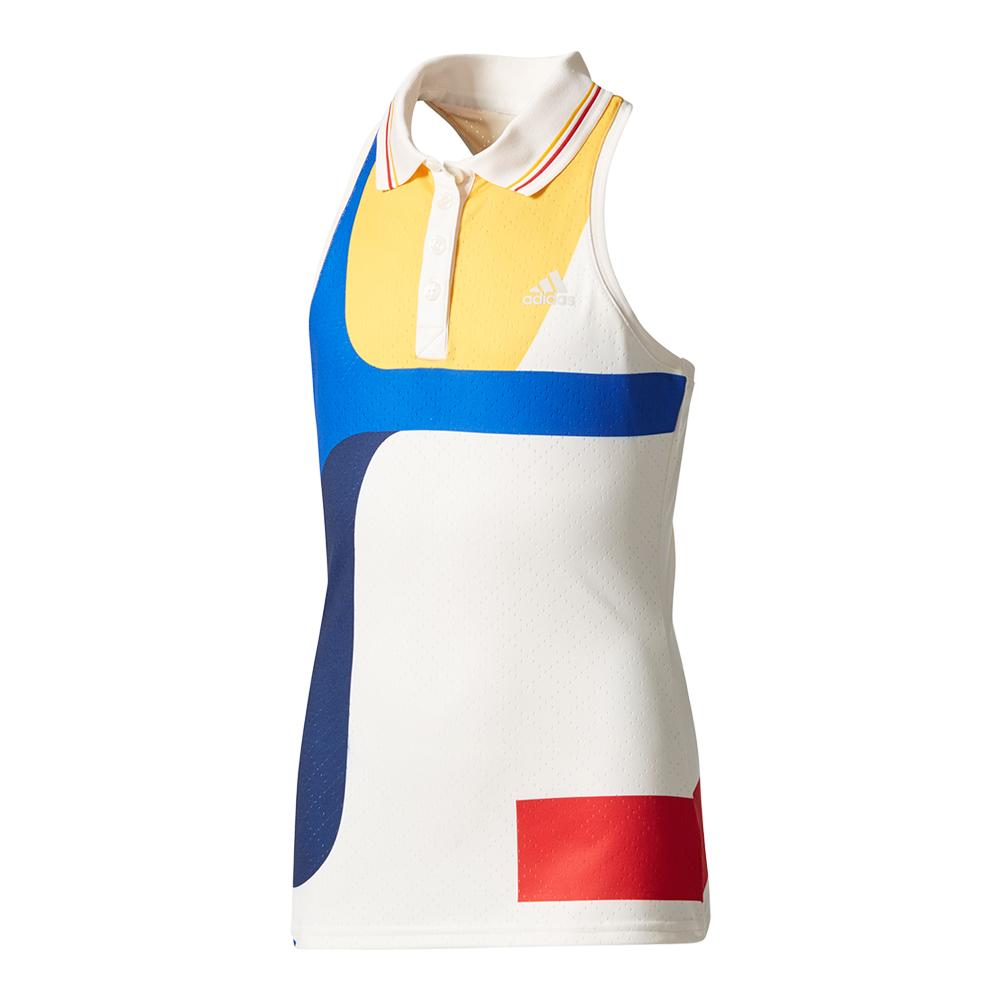 Girls ` New York Pharrell Williams Tennis Tank Chalk White And Dark Blue
