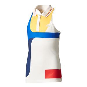 Girls` New York Pharrell Williams Tennis Tank Chalk White and Dark Blue