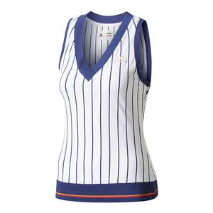 Women`s New York Pharrell Williams Striped Tennis Tank Chalk White and Dark Blue