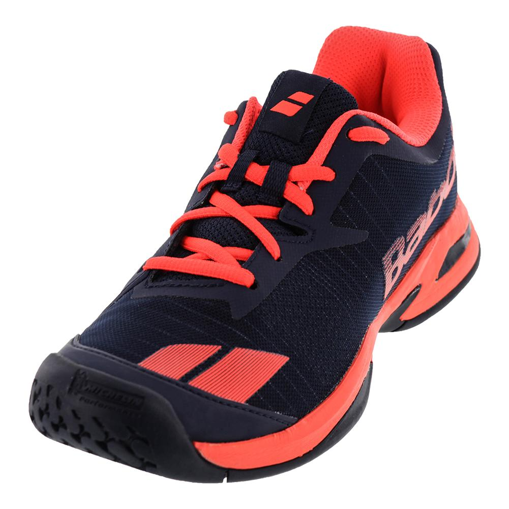 Juniors ` Jet All Court Tennis Shoes Blue And Red