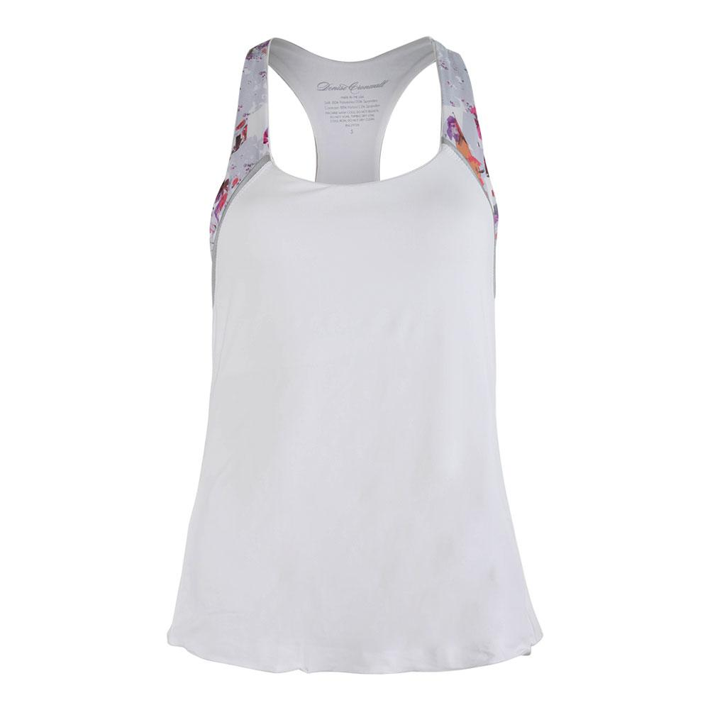Women's Racerback Tennis Top White And Print