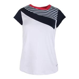 Women`s Tulip Fields Cap Sleeve Tennis Top White and Iris