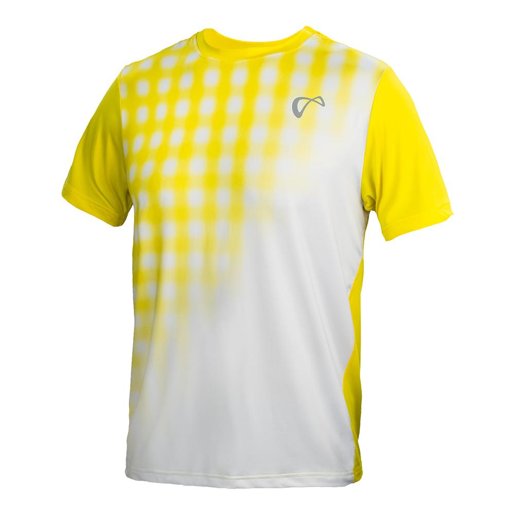 Men's Racquet Mesh Yolk Tennis Crew White And Buttercup