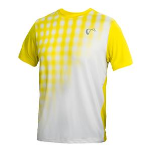 Men`s Racquet Mesh Yolk Tennis Crew White and Buttercup