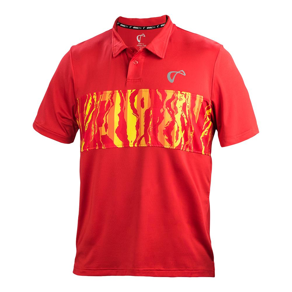 Men's Topography Tennis Polo Poppy And Buttercup