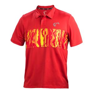 Men`s Topography Tennis Polo Poppy and Buttercup