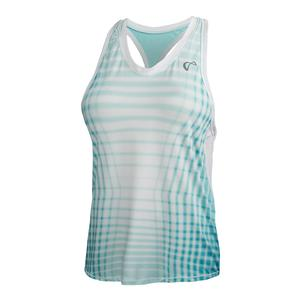 Women`s Racquet Racerback Tennis Tank Aruba and White