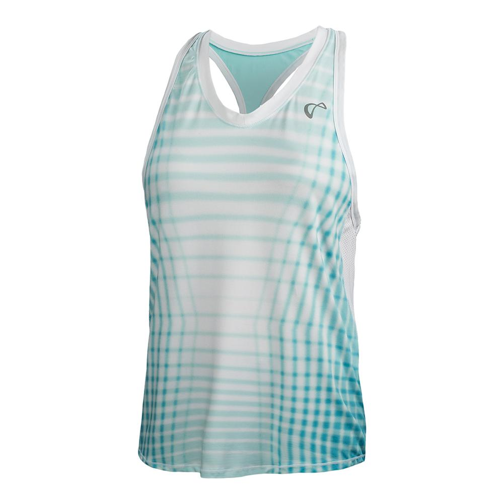 Girls ` Racquet Racerback Tennis Tank Aruba And White