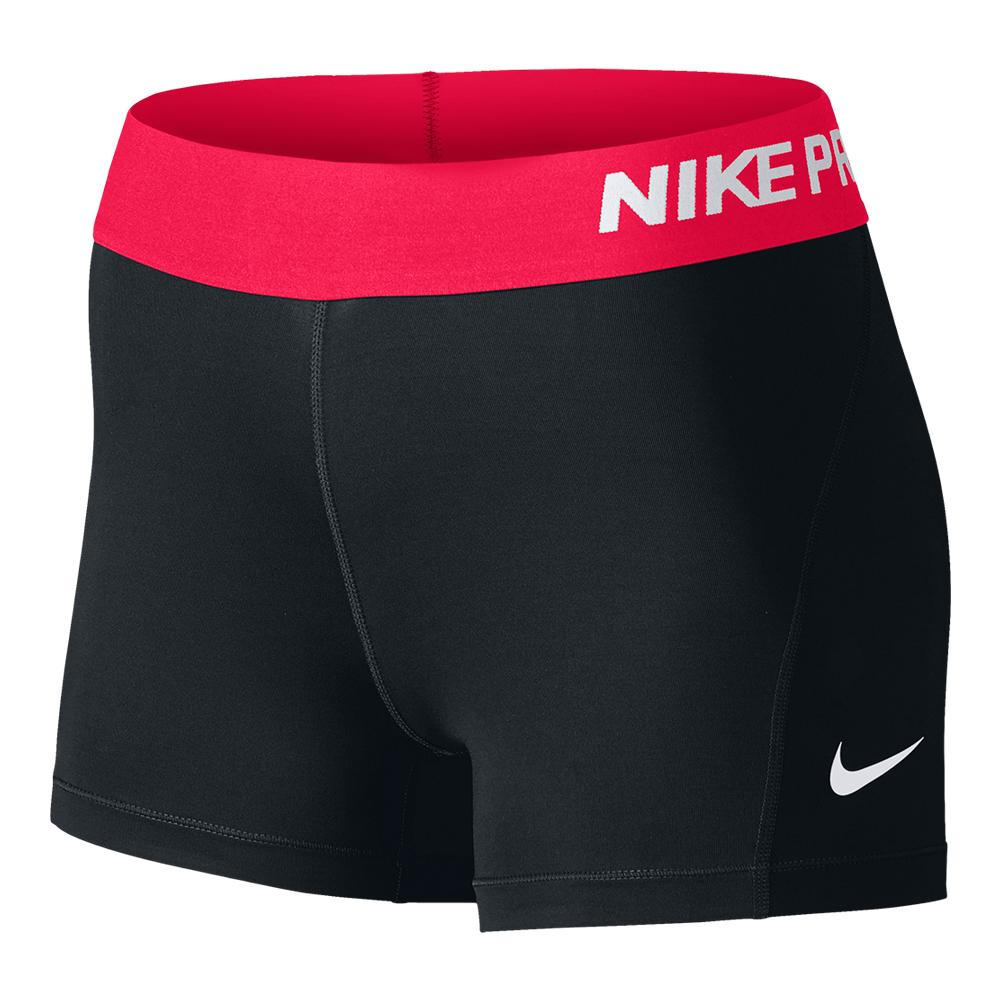 Women's Pro 3 Inch Short Black And Racer Pink