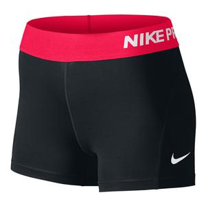 Women`s Pro 3 Inch Short Black and Racer Pink