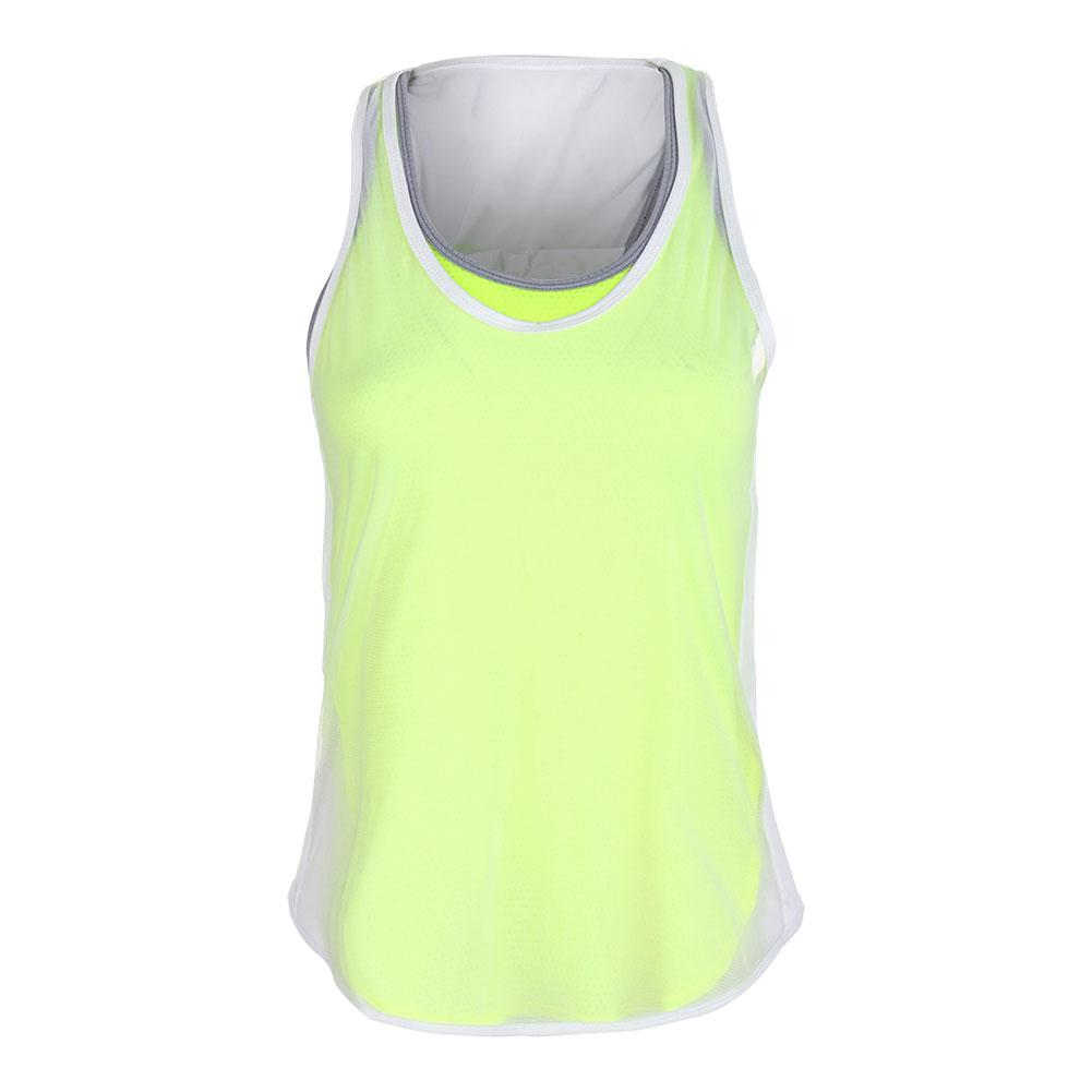 Women's Mesh Layered Tennis Tank Neon Yellow