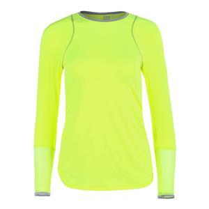 Women`s Long Sleeve Athletic Tennis Crew Neon Yellow