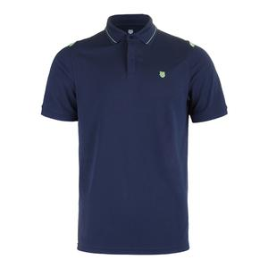 Men`s Backcourt Tennis Polo Insignia Blue and Paradise Green