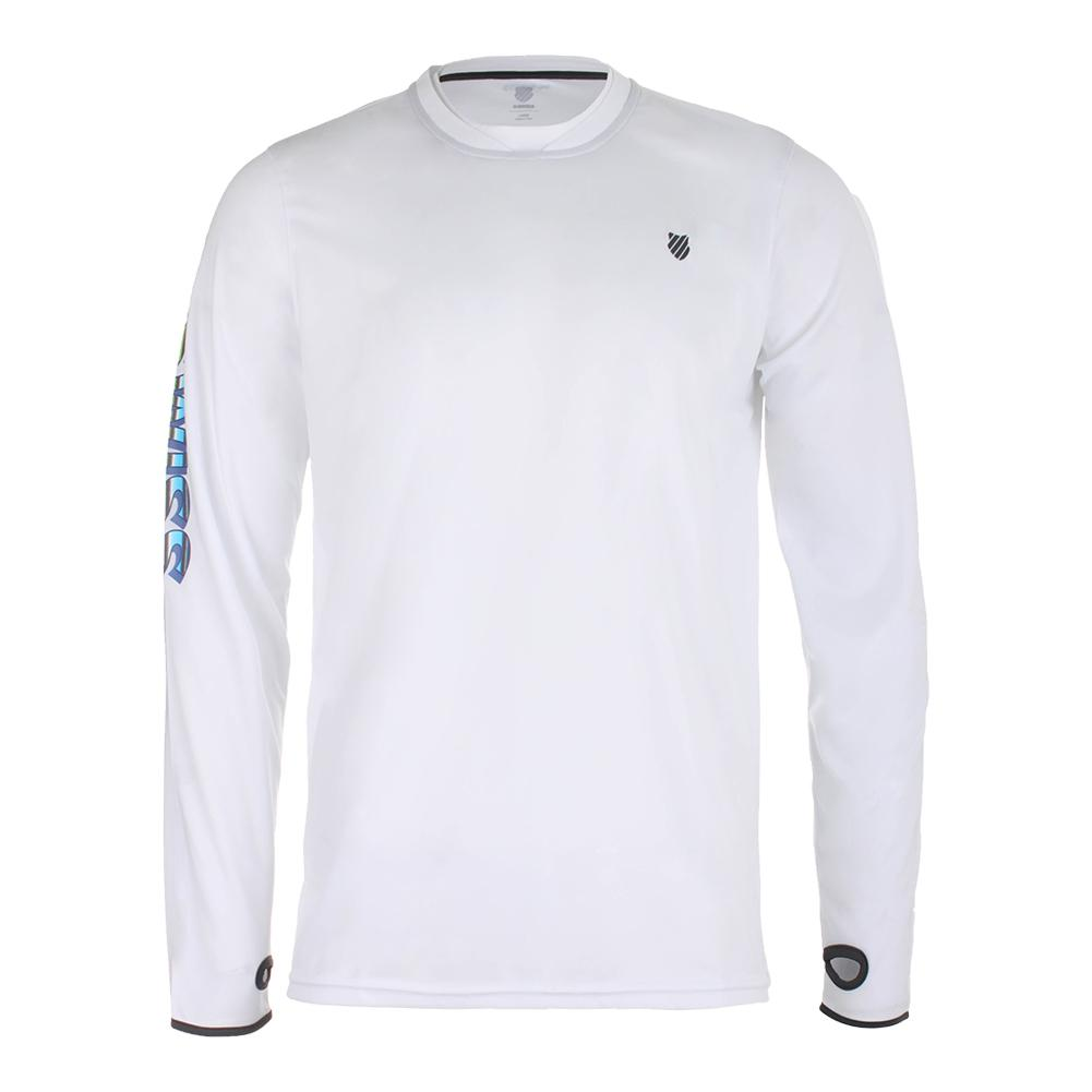 Men's Long Sleeve Tennis Crew White And Dark Shadow