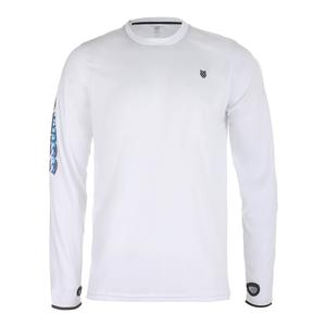 Men`s Long Sleeve Tennis Crew White and Dark Shadow