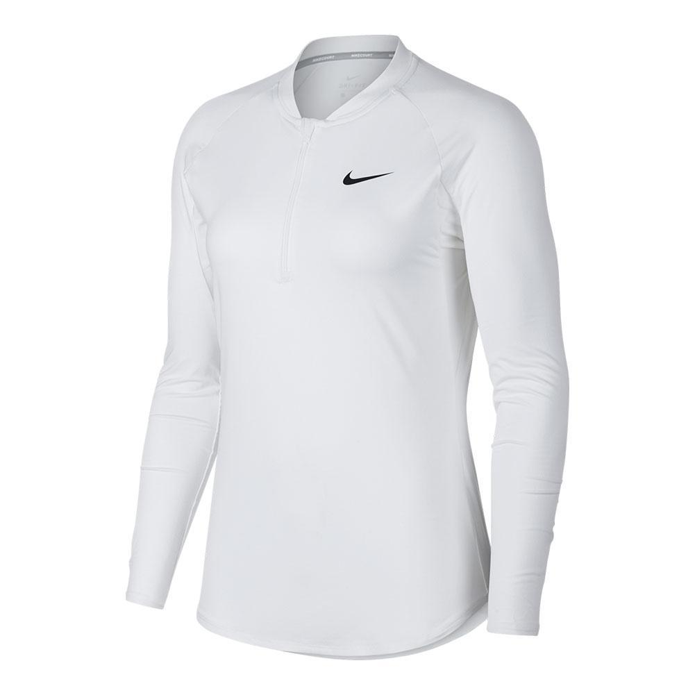 4608cc29 Nike Women's Court Pure Long Sleeve Half Zip Tennis Top