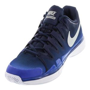 Men`s Air Zoom Vapor 9.5 Tour Tennis Shoes Midnight Navy and Metallic Silver