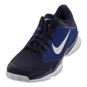 Men`s Air Zoom Ultra Tennis Shoes Midnight Navy and Metallic Silver