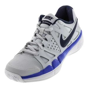 Men`s Air Vapor Advantage Tennis Shoes Pure Platinum and Midnight Navy