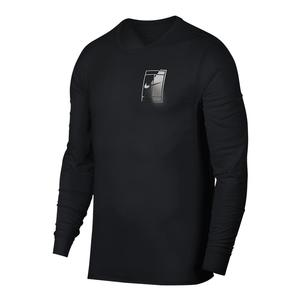 Men`s Court Dry Long Sleeve Logo Tennis Tee