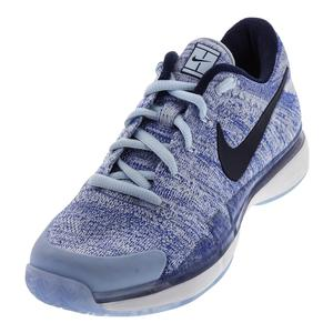 Women`s Air Zoom Vapor Flyknit Tennis Shoes Hydrogen Blue and Metallic Dark Gray