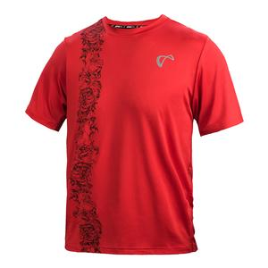 Men`s Brushed Emboss Mesh Yoke Tennis Crew Poppy