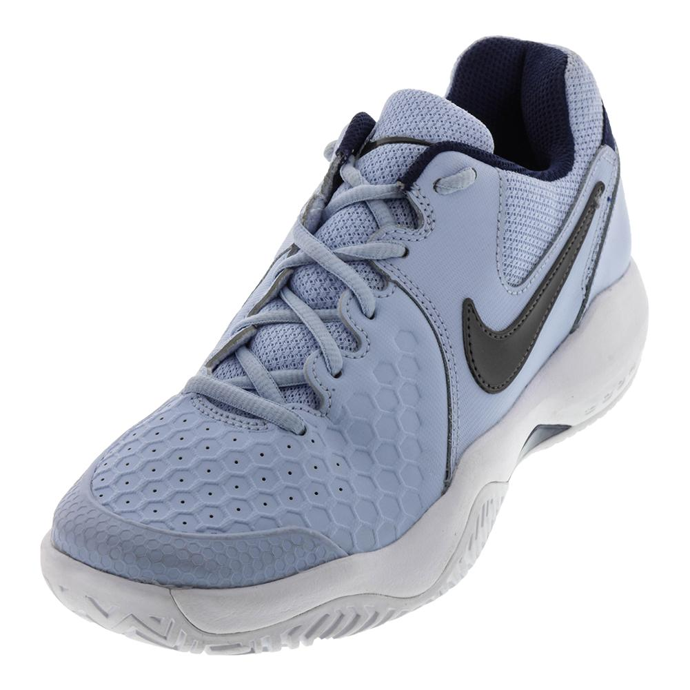 Women's Air Zoom Resistance Tennis Shoes Hydrogen Blue And Metallic Dark Gray