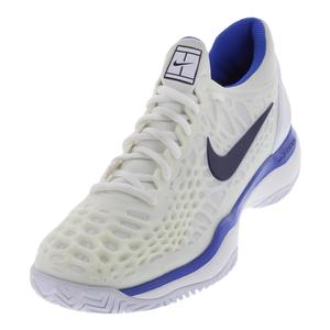 Women`s Zoom Cage 3 HC Tennis Shoes White and Binary Blue
